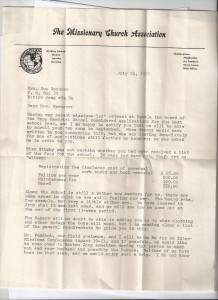 Page one of letter regarding John and Tom Spencer's admission to the missionary boarding school (Kabala Rupp Memorial School) in Kabala, Sierra Leone.