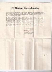 Page two of letter regarding John and Tom Spencer's admission to the missionary boarding school (Kabala Rupp Memorial School) in Kabala, Sierra Leone.