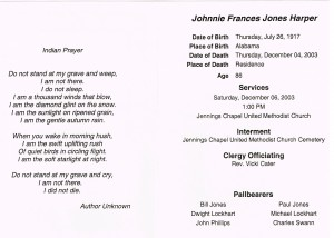 Johnnie Frances Jones Harper Funeral card