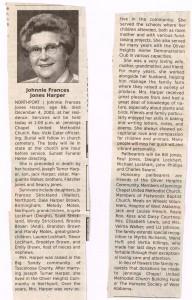 Johnnie Frances Jones Harper obituary