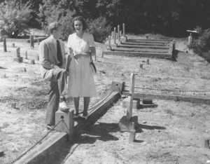 Martha Sue and Floyd Swann in the cemetery 1960's.